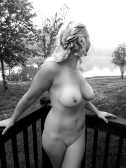 outdoors in the black and white