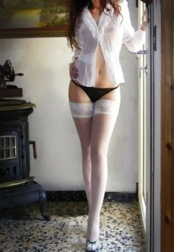 Babe with long legs in stockings