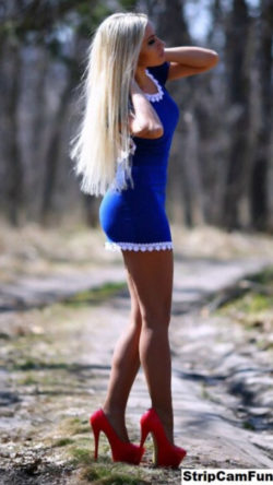 Blue dress red heels