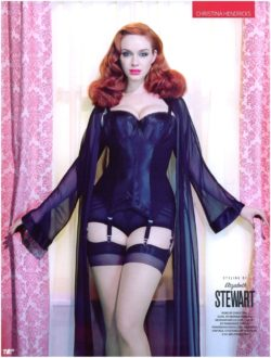 Christina Hendricks in black lingerie