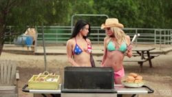 Riley Steele and Katrina Jade getting frisky at a barbecue