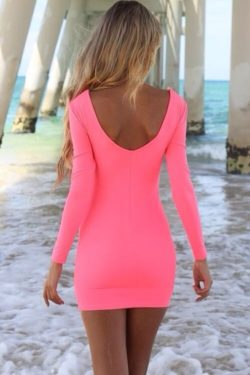 Tight pink dress under the pier
