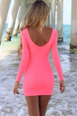 Tight pink dress under the pier