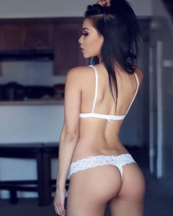 White Lace Thong on an Awesome Body