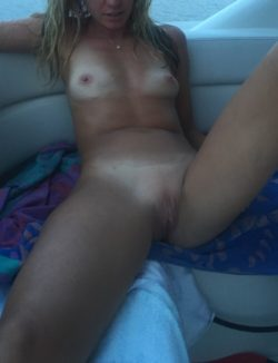 Wife relaxing after a nice fuck on that boat