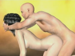 Sinfully dark brown 3D super model Kristalynn receives plunged rear end by her hairless bf