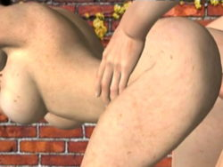Great looking redhead 3D super model with big jugs Misty receives group-fucked rear end at the wall