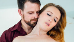 Innate redhead Sabrina takes Billy in her throat & vulva