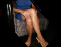 A closer look at how her legs and breasts fill out her dress from under the table...