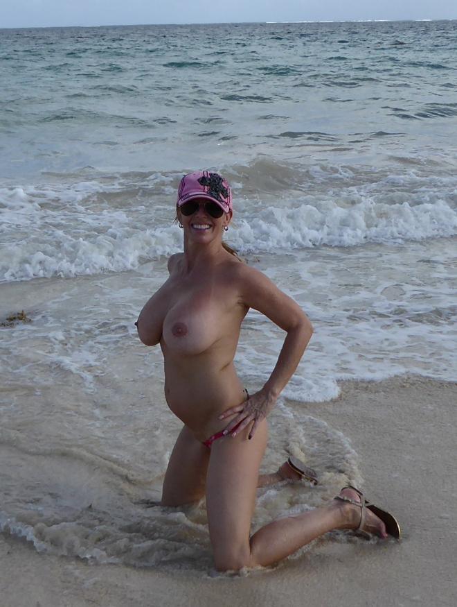 Big boobs on the beach