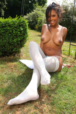 Brown skin in white stockings