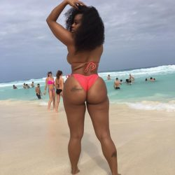 Dominique Chinn booty at the beach
