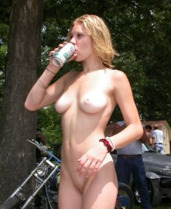 Enjoying a sprite at the biker rally.