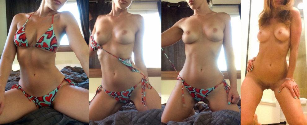 Hot redhead shedding her bikini