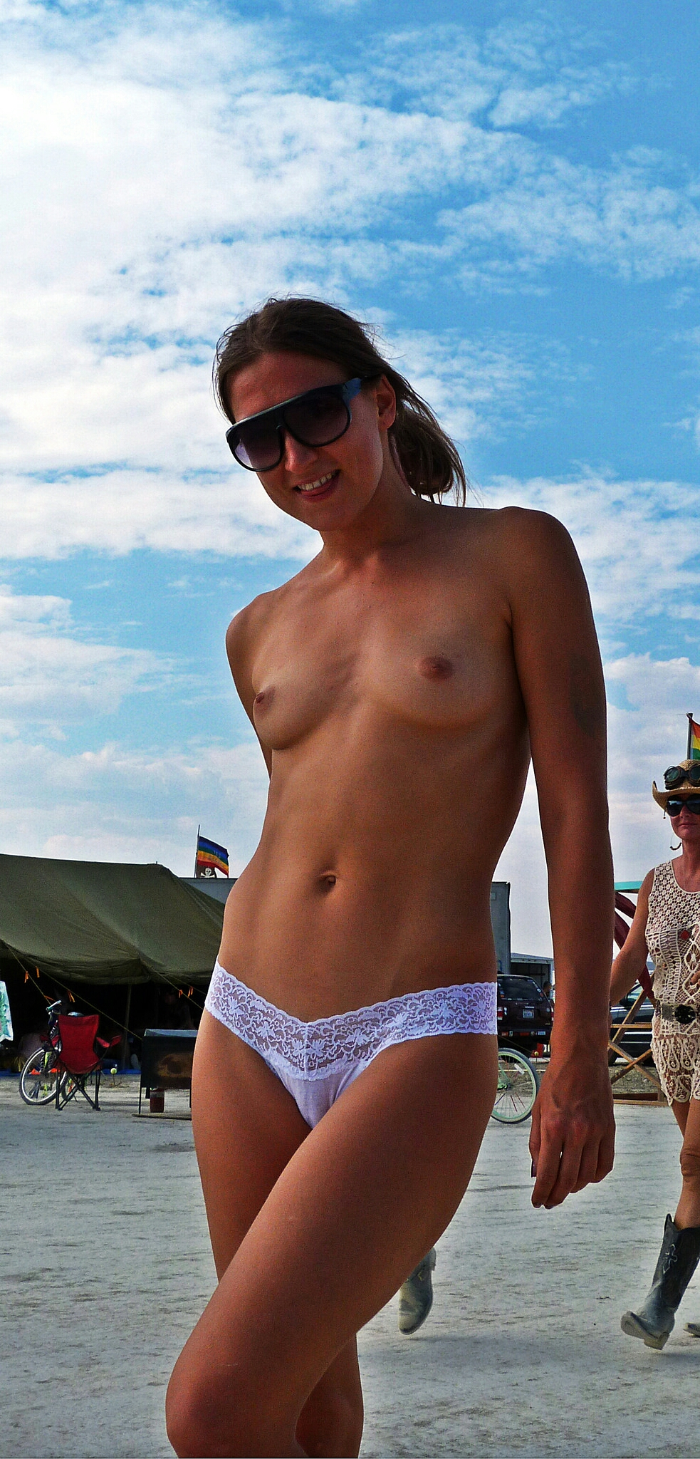 Just panties and sunglasses.