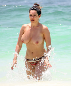 Kelly Brook at the beach.