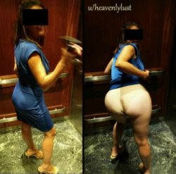 On a recent date my wife wearing tight blue dress that accentuates her juicy ass flashed me in the public elevator