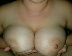 Presenting my tits to my husband for him to play with