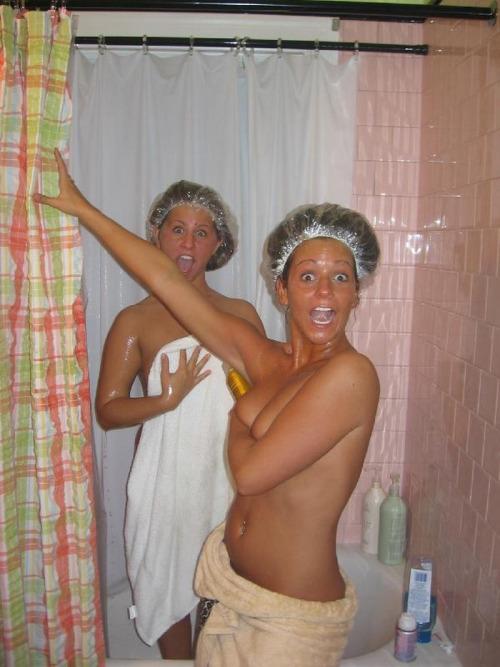 Shower cap girls caught topless