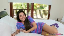 Cute teen Natalie Monroe gets a big cock to ride