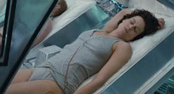 Sigourney Weaver's hairy 70's bush peaks out the right side of her panties in Alien