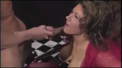 Sexy unknown brunette gets blasted by the original cumshot king in this classic