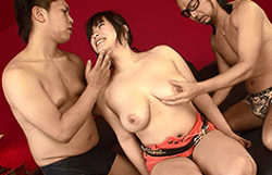 Double teaming the huge-titted Japanese lady