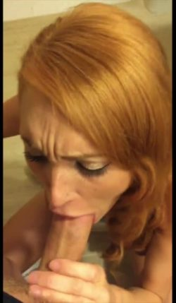 Redhead blowing