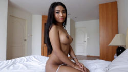 20 yr girlie Thai ladyboy does a striptease for white vacationer