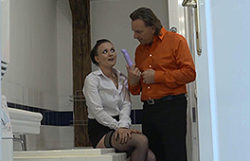 Horny house girl receives a great stiff plowing