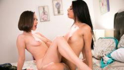 Cuties Gina V. and Jenna Sativa pulverizing vigorously!