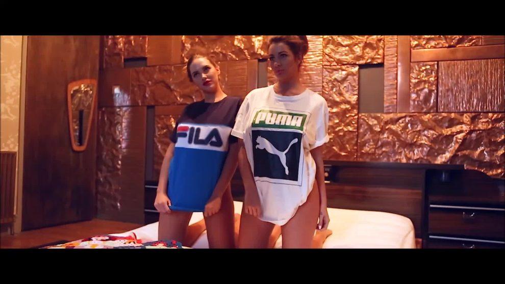 Sabine Jemeljanova and Holly Peers taking their top off