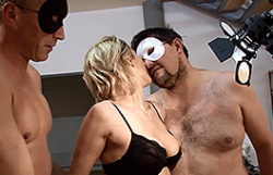 Inexperienced golden-haired in a homemade 3some