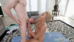 Short haired MILF stroking out a load