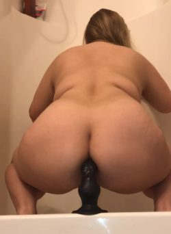 Squat fucking my black suction dildo with my big ass (OC)