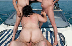 big beautiful woman granny nailed on a boat in public