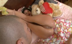 Yvette demonstrated her labia to teddy-bear.