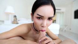 21yo big-chested Thai ladyboy deepthroats off tourists white prick and nutsack