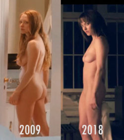 Amanda Seyfried 2009 (Chloe) - 2018 (Anon) Nude Comparison