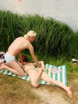 A sexy couple goes to the bare beach plus has several fantastic public sex.