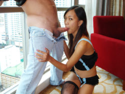 Lovely younger Asian babe chowing on international cock sooner than pussy railing