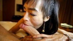 24yo Thai shemale fucks and sucks giant white cock