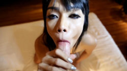 25yo busty Thai shemale sucks off vacationers white cock and balls