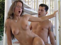 Brown haired big-chested stunner getting pumelled doggy position by a lascivious stud