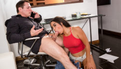 Slutty Maya suck on her step dad's cock to get his consideration
