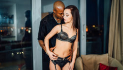 Horny Lea Guerlin in stockings rides Sensi's large black cock.