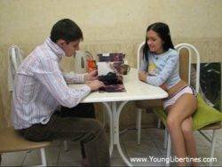 Teenager intercourse in a kitchen
