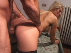 Insatiable golden-haired wench in nylons getting pulverized from the rear