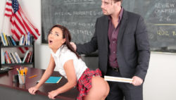 Delinquent bitch Amara Romani penalized & smashed in classroom.