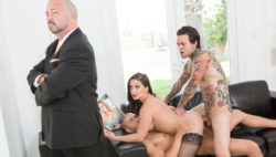 Puny Arms and Xander entice their stepmom Lea into a double penetration.